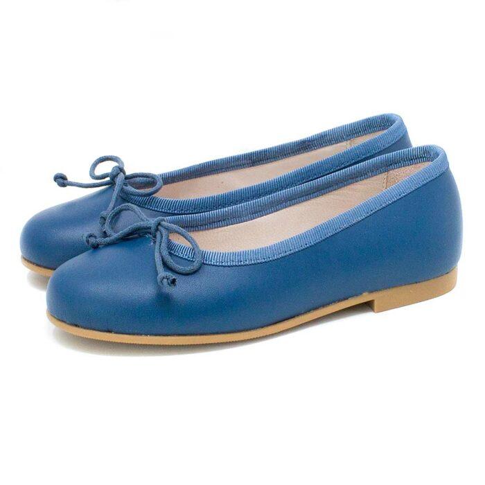 Bailarina piel natural color azul
