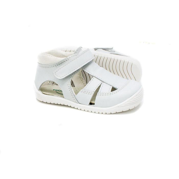 sandalia piel blanca plantilla extraible sin cromo