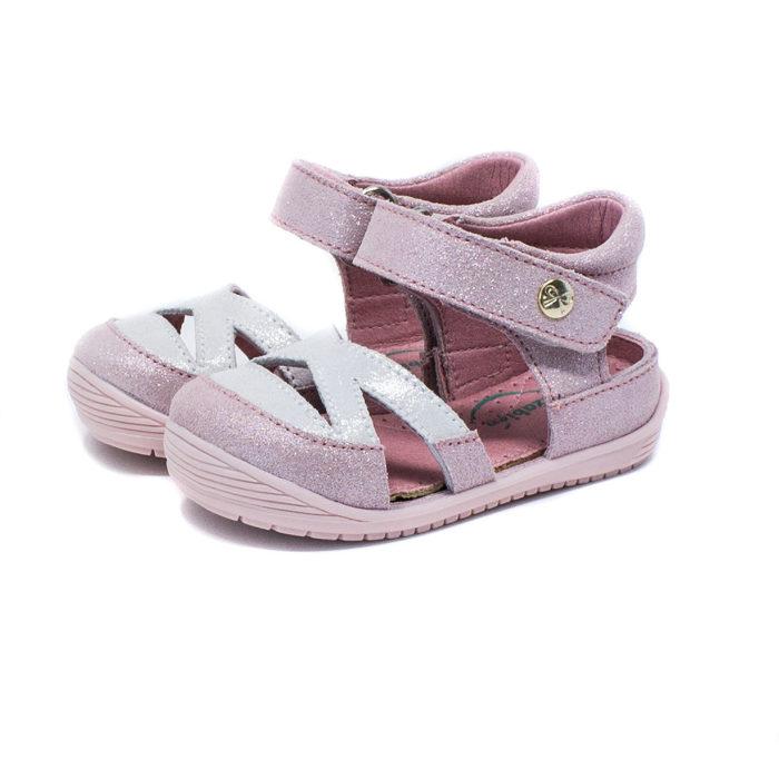sandalia piel rosa lateral abierto